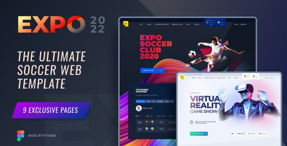 Expo2022 | Exclusive Soccer Sports Portal Figma Web Template - Events Entertainment
