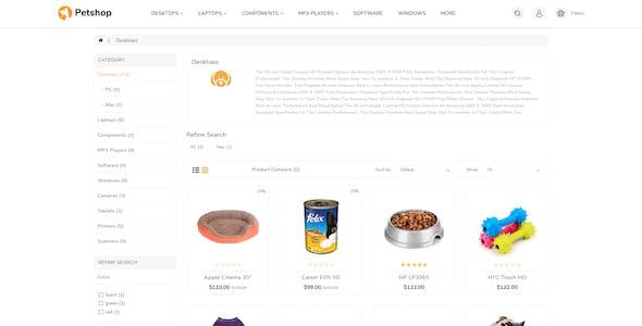 Pestore - Responsive Food Pet Store OpenCart 3 Theme