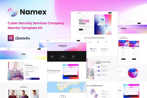 Namex - Cyber Security Services Company Elementor Template Kit - Technology & Apps Elementor