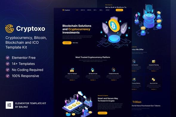 Cryptoxo – Cryptocurrency Blockchain & Bitcoin Elementor Template Kit - Technology & Apps Elementor