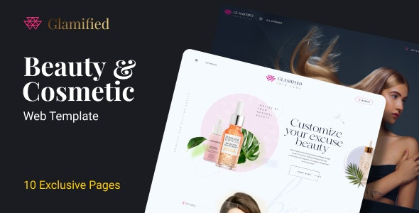 Glamified |10 Beauty Products Web Landing page Figma Template - Fashion Retail