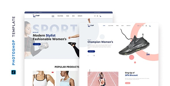 Trali – eCommerce Sportswear Template for Photoshop - Fashion Retail