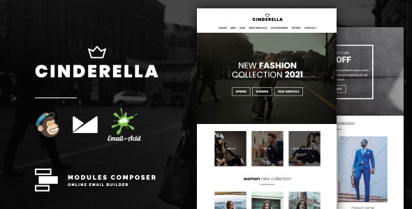 Cinderella - E-commerce Responsive Email for Fashion & Accessories with Online Builder - Newsletters Email Templates
