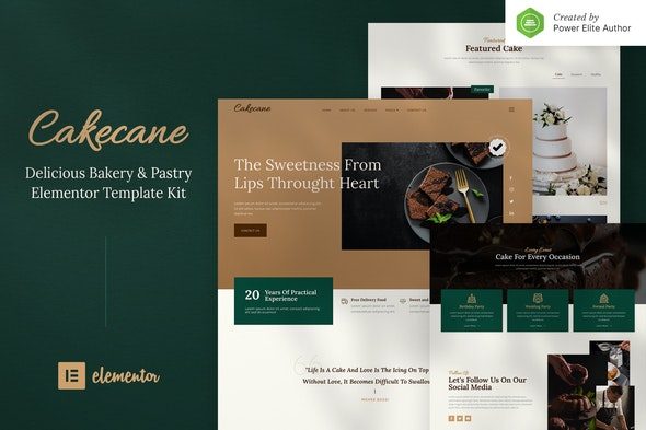 Cakecane – Cake & Pastry Elementor Template Kit - Food & Drink Elementor
