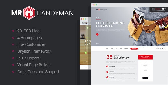 Handyman - House Repair & Renovation WordPress Theme - Business Corporate