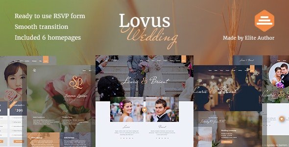 Lovus - Responsive HTML Wedding Template - Wedding Site Templates