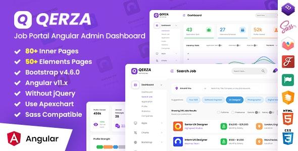 Qerza - Job Portal Admin Dashboard Angular Template - Admin Templates Site Templates