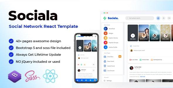 Sociala - Social Network App React Template - Miscellaneous Site Templates