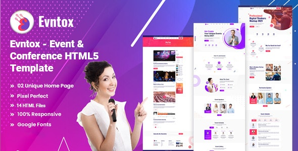 Evntox - Event & Conference HTML5 Template - Events Entertainment