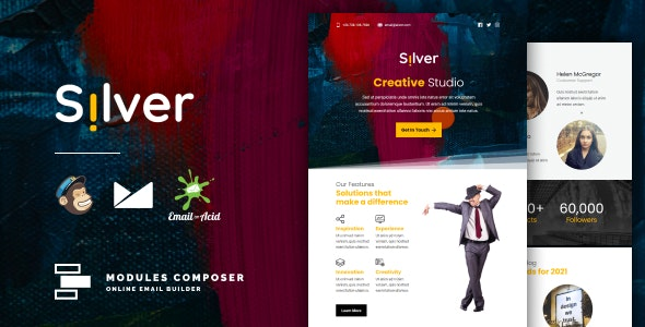 Silver - Responsive Email for Agencies, Startups & Creative Teams with Online Builder - Email Templates Marketing