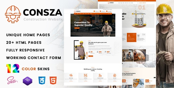 Consza - Construction & Architecture Template - Business Corporate