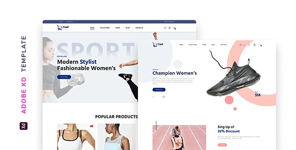 Trali – eCommerce Sportswear Template for XD - Fashion Retail