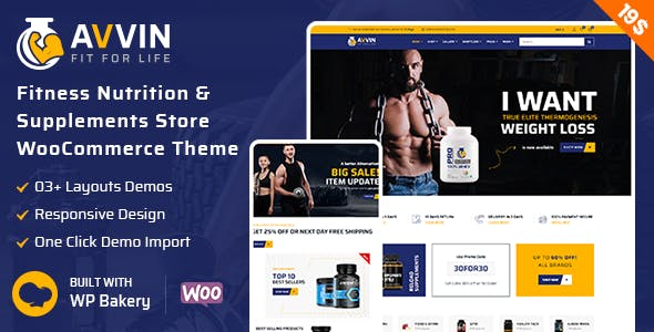 Avvin - Fitness Nutrition and Supplements Store WooCommerce Theme