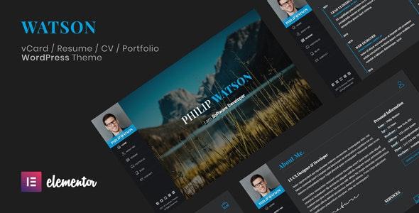 Watson - CV Resume Theme - Portfolio Creative