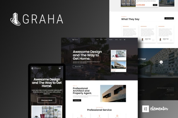 Graha - Real Estate Elementor Template Kit - Real Estate & Construction Elementor