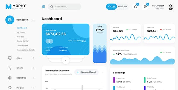 MOPHY - Payment React Admin Dashboard Template