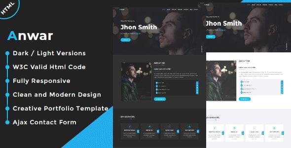 Anwar - One Page Creative Portfolio Template - Portfolio Creative