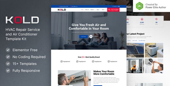 Kold – Air Conditioner & HVAC Repair Service Elementor Template Kit