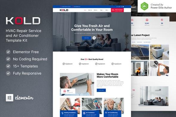 Kold – Air Conditioner & HVAC Repair Service Elementor Template Kit - Business & Services Elementor