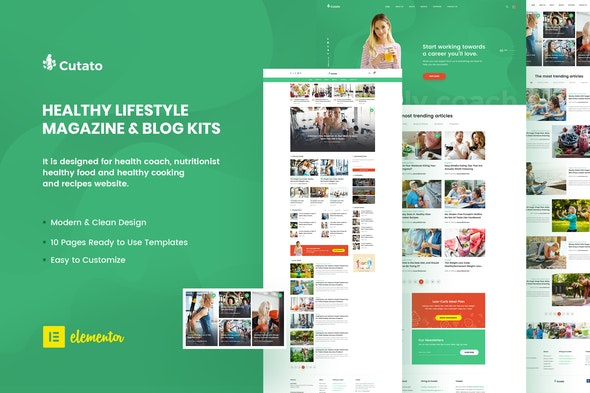 Cutato - Healthy Lifestyle Magazine & Blog Template Kit for Elementor - Blogs & Podcasts Elementor