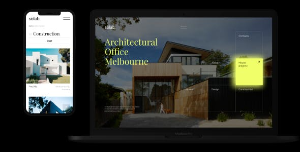 Solab –  Minimalistic Template for Architectural Agency