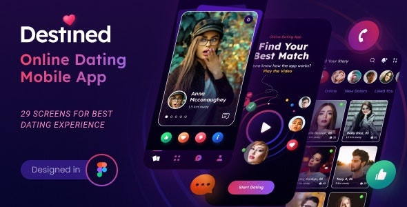 Destined | A Dating App UI Figma Template - Social Media Home Personal