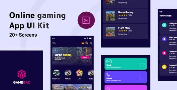 Gamebaz - Online Gaming App UI Kit - Business Corporate