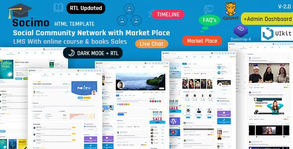 Socimo - Social Network Community with Online LMS Market Place Template