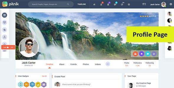 Pitnik - Social Network Social Media Community UI Toolkit Responsive Template