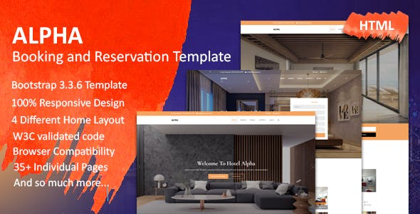 Hotel Alpha - Booking and Reservation Template