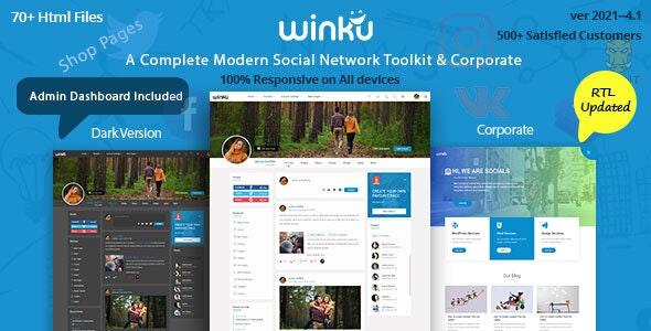 Winku Social Network Social Media Community UI Toolkit & Corporate Responsive Template - Social Media Home Personal