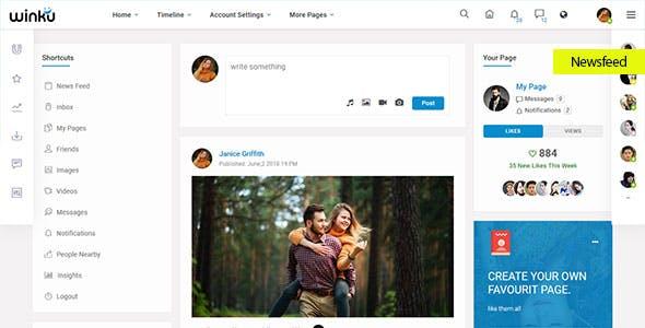Winku Social Network Social Media Community UI Toolkit & Corporate Responsive Template
