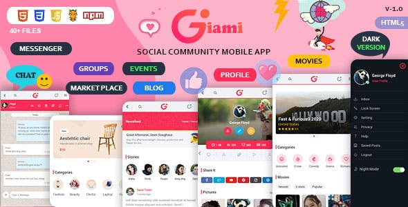 Giami Social Network Community Mobile App UI Kit with Market Place Template