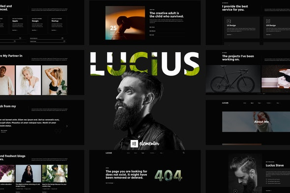 Lucius - Personal Portfolio Elementor Template Kit - Personal & CV Elementor