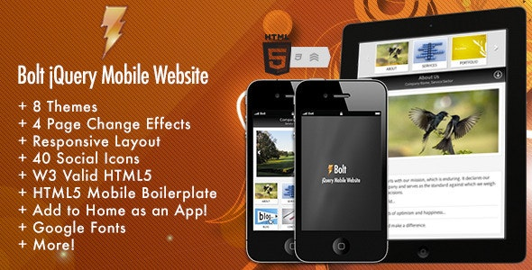 Bolt jQuery Mobile Website - Mobile Site Templates