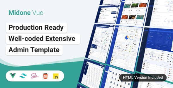 Midone - Vuejs 3 Admin Dashboard Template + HTML Version + XD Design File - Admin Templates Site Templates