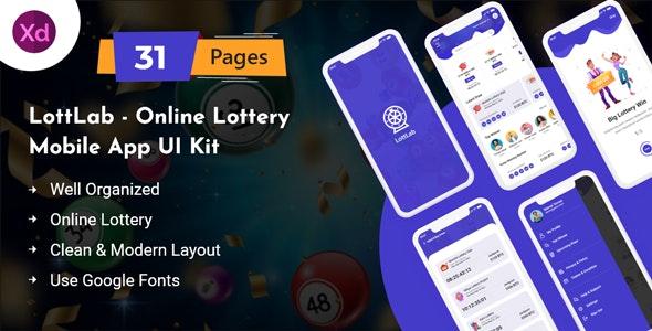 LottLab - Online Lottery Mobile App UI Kit - Business Corporate