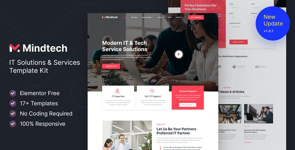 Mindtech – IT Solutions & Services Company Elementor Template Kit