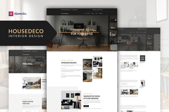 Housedeco - Interior Design Elementor Template Kit - Business & Services Elementor