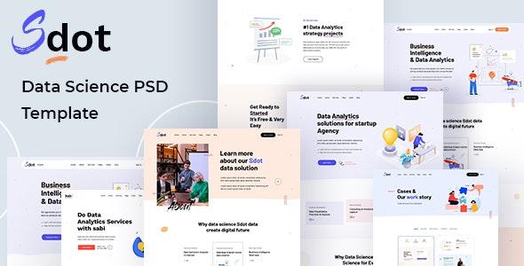 Sdot  - Data Science & Analytics PSD Template - Technology Photoshop