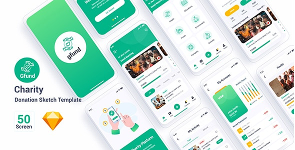 Gfund – Charity Donation Sketch Template - Sketch UI Templates