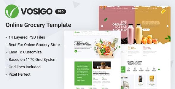 Vosigo Food and Grocery PSD Template - Retail Photoshop