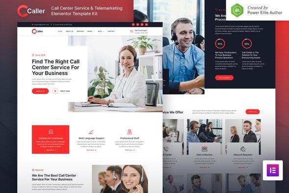 Callerr – Call Center Service & Telemarketing Elementor Template Kit - Business & Services Elementor