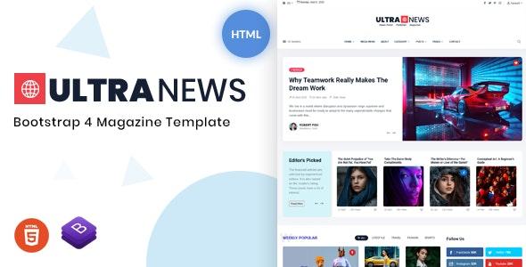 Ultranews - Magazine Bootstrap 4 Template - Entertainment Site Templates