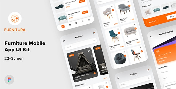 FURNITURA - Furniture Mobile App UI Kit For Figma - Shopping Retail
