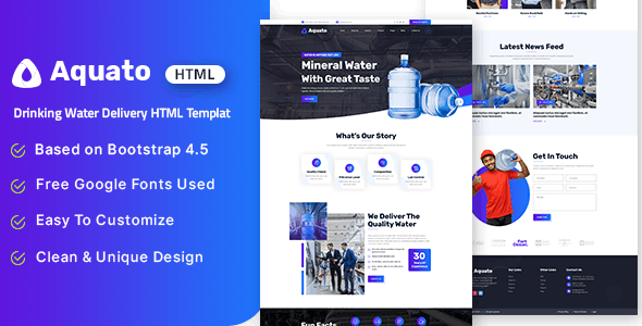 Aquato - Drinking Water Delivery HTML Template - Food Retail