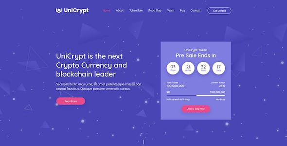 UniCrypt - Cryptocurrency Landing Page HTML Template