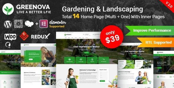 Greenova v2.1 – Gardening & Landscaping WordPress Theme