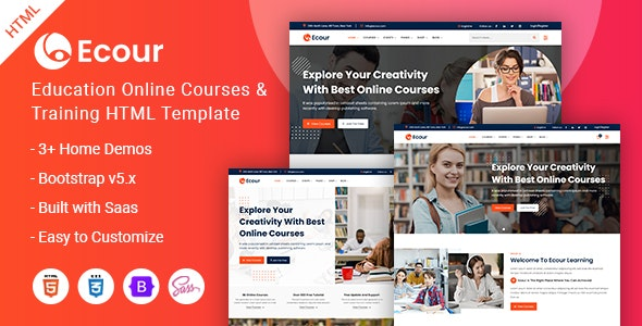 Ecour - Education Courses & Training HTML Template - Business Corporate
