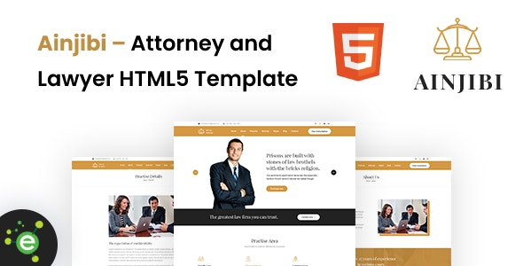 Ainjibi – Attorney and Lawyer HTML5 Template - Business Corporate